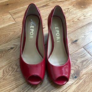 Report signorella red peep toe wedge pump as 7.5